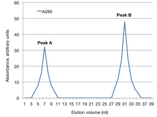 A graph. The x-axis shows elution volume in milliliters. The Y axis shows absorbance at 280 (in arbitrary units). There are two A280 peaks at 7 and 31 milliliters elution volume, labeled Peak A and Peak B respectively.