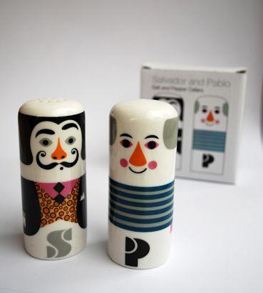 Salt- och pepparkar i form av Salvador Dali och Pablo Picasso, designade