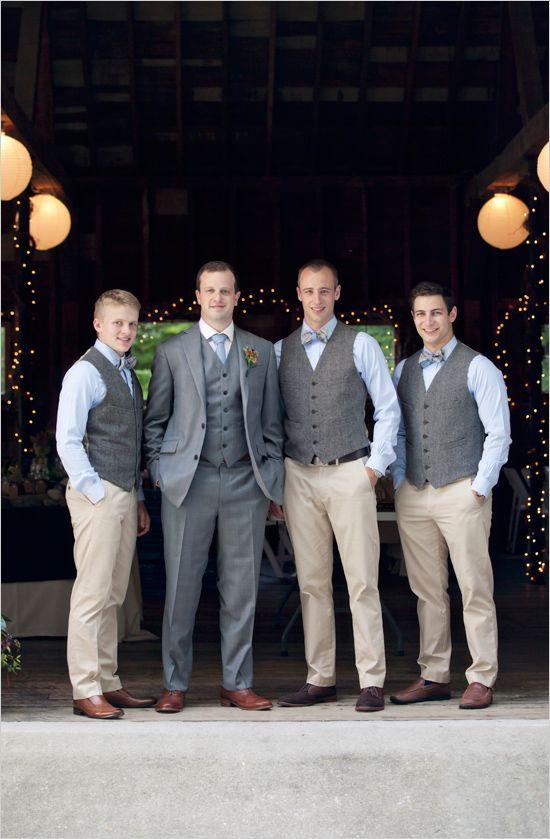 blue grey and tan groomsmen look #groomsmen #groomlook #weddingchicks http://www.weddingchicks.com/2014/03/04/take-your-time-wedding/