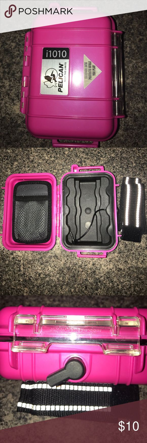 Pink Pelican case Pink Pelican case. 4x5x2. Designed to keep items waterproof while still utilizing headphone jack. Pelican Other