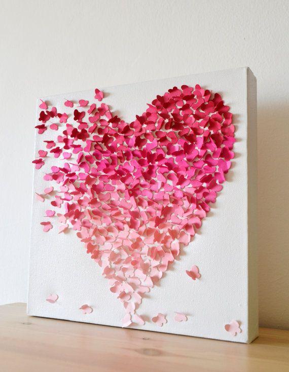 3D Schmetterling Herz Wandkunst kleine Rosa Ombre / von RonandNoy