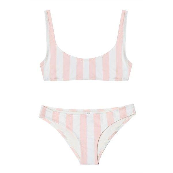 Solid and Striped The Elle Bikini Petal Stripe ($190) ❤ liked on Polyvore featuring swimwear, bikinis, summer bikini, bikini swimwear, bikini two piece, striped bikini and striped swimwear