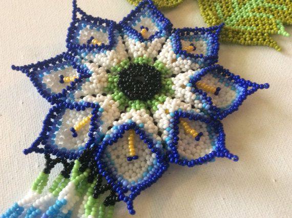 HUICHOL seed bead necklace. Unique design. Perfect, statement necklace