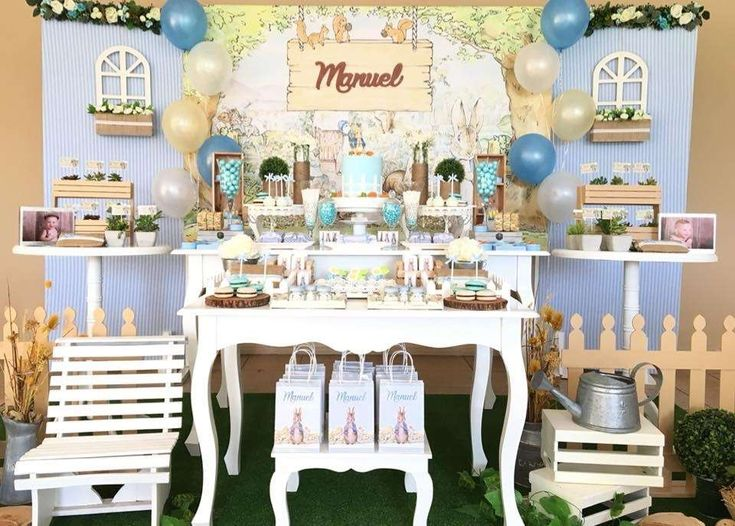 Celebrate a little boys birthday with an awesome Peter Rabbit party like this one!! See more party ideas and share yours at CatchMyParty.com #catchmyparty #peterrabbit #desserttable