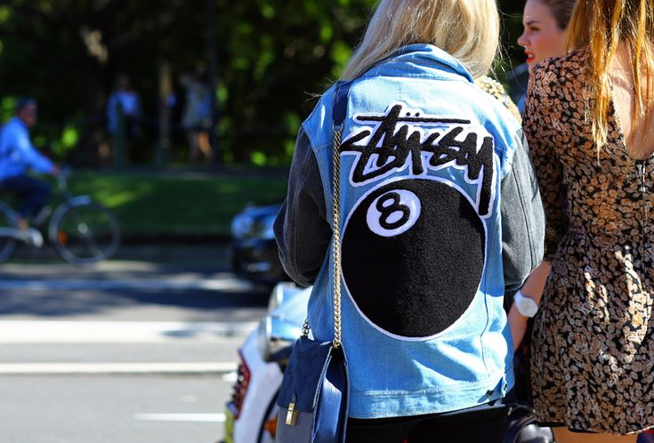 stussy 8 ball jacket and céline purse.