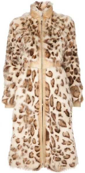 Valentino Fox Fur and Leather Coat in Animal (leopard)