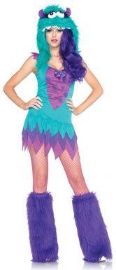 Blau-lila Monster-Fantasie-Kostüm für Damen