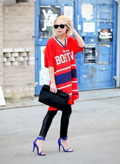 Super Bowl Style - How to Make a Sports Jersey Look Chic - Mens jersey worn with black leather pants + blue heels and an oversized clutch