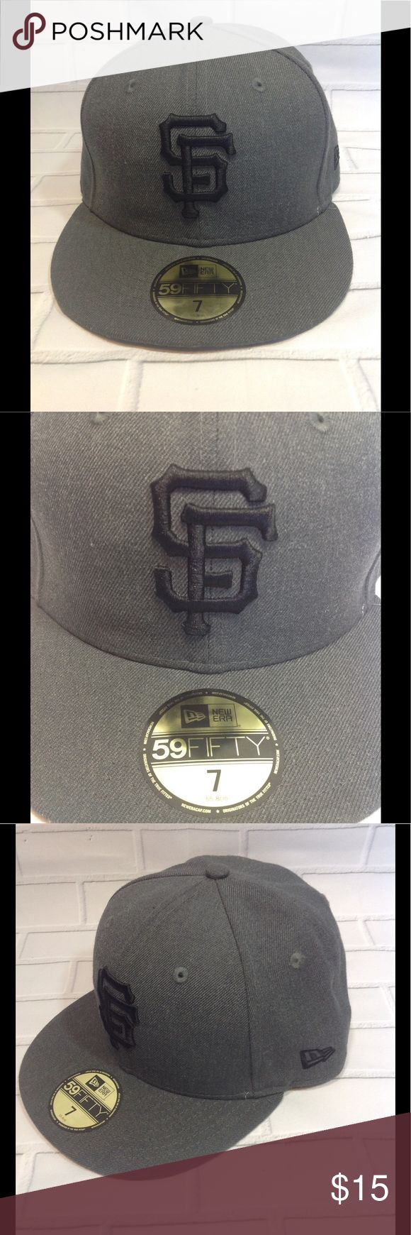 New Era 59FIFTY SF Giants Fitted Flatbrim Hat sz 7 Like New. Unworn. Authentic MLB Fan Store Merchandise. Size: 7 (55.8cm) Color: charcoal grey. I ship the same day. New Era Accessories Hats