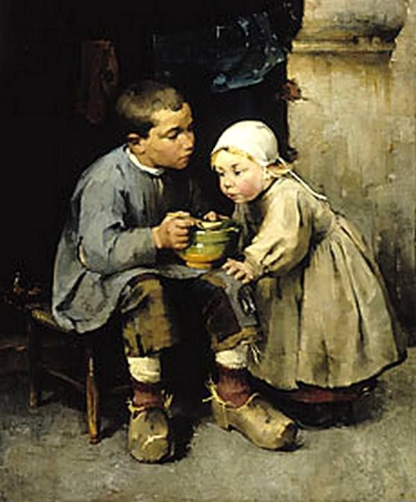 Boy feeding his little sister - Helene Sofia Shjerfbeck (Finnish)