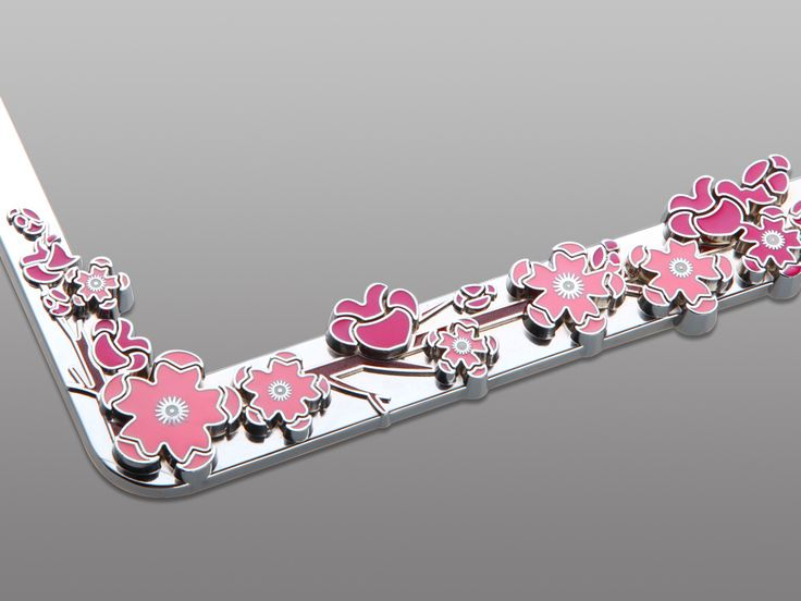Girly Pink Flower Rhinestone License Plate Frame Car Accessory