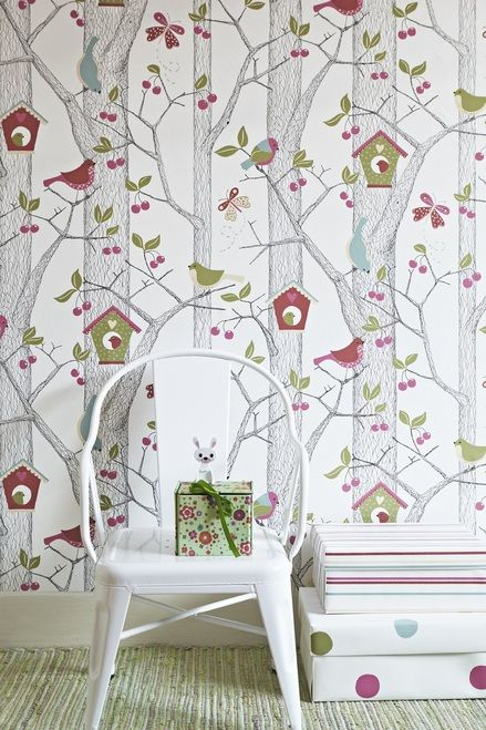 Adorable cherry tree with birds wallpaper by Borastapter.