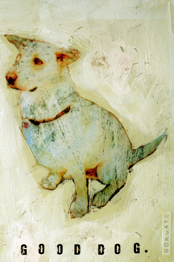"""good dog, mixed media on paper, 4x6"""" (framed 8x10"""") SOLD"""