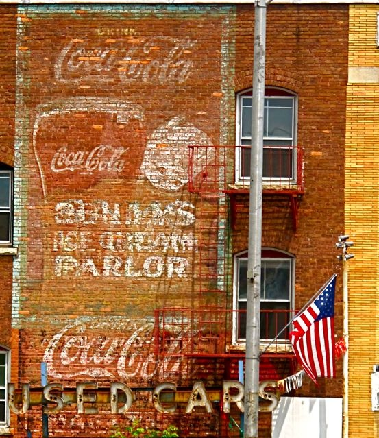 old Coca Cola sign painted on side of building on North Street in Pittsfield, Mass., now gone.