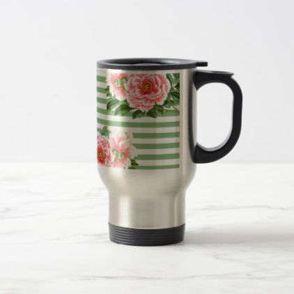 Pink Peonies Green Stripes Travel Mug - classy gifts vintage diy ideas