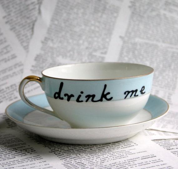 Nippon Drink Me Blue Altered Vintage Teacup and by geekdetails, $30.00Vintage Teacups, Teas Time, Hands Painting, Geek Details, Painting Teacups, Coffee, Alice, Blog, Teas Parties