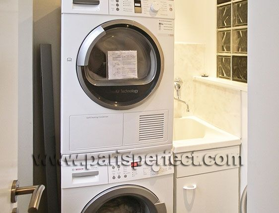 small laundry room ideas stackable washer dryer - Google Search
