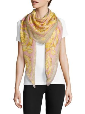 VERSACE Scialle Floral Print Scarf. #versace #scarf