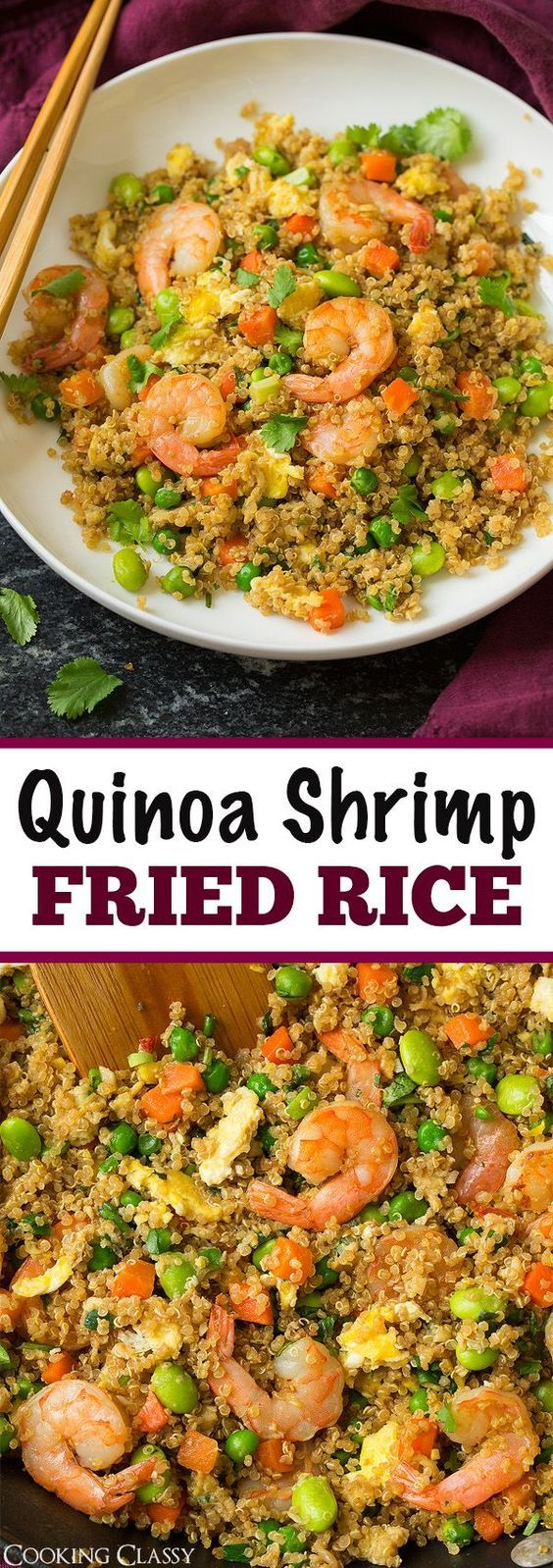 "Quinoa Shrimp ""Fried Rice"" - a healthier take on classic fried rice yet equally as delicious!"