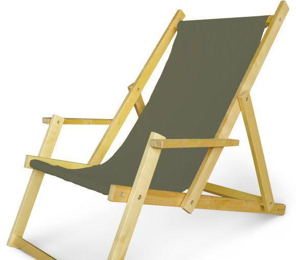 Holz Sonnenliege Strandliege Liegestuhl aus Holz Gartenliege N/3 mit Armauflagen