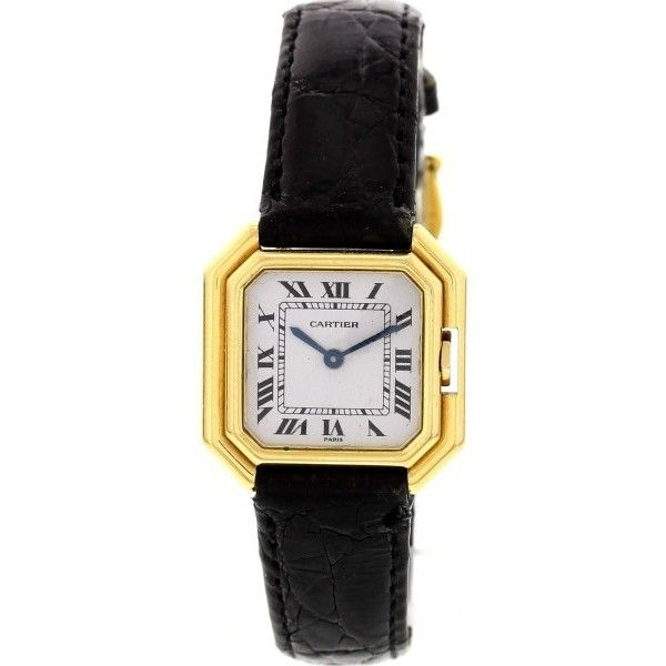 Pre-owned Cartier 18K Yellow Gold Paris Vintage 24mm Watch (13,600 CNY) ❤ liked on Polyvore featuring jewelry, watches, 18k gold jewelry, white watches, vintage watches, vintage wristwatches and vintage jewelry