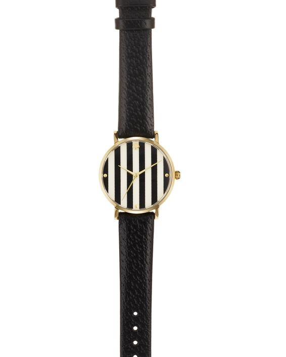 the new kate spade watches collection is out. i am squirming in my seat! black leather, gold trim, and stripes. ohsofancy.