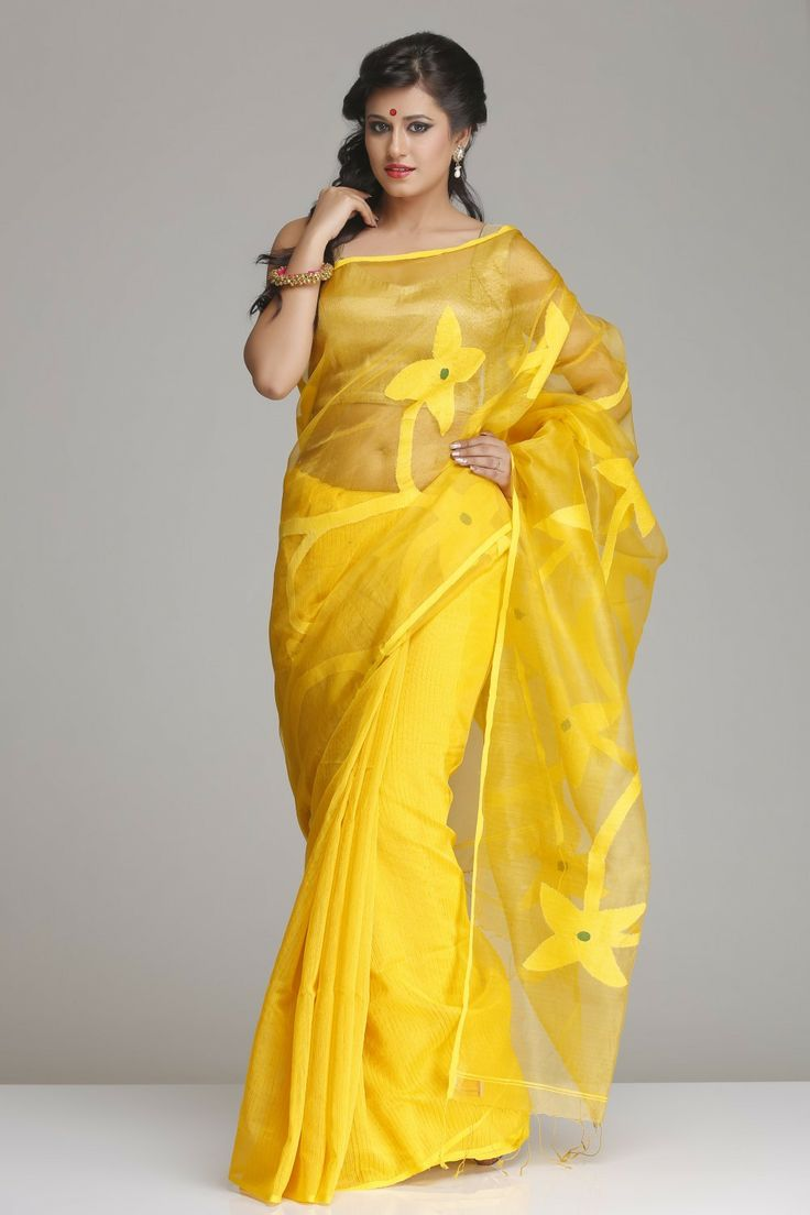 Pretty Yellow Raw Silk Saree With Matka Silk Floral Bootis