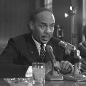 Ralph Ellison testified at a Senate Subcommittee hearing in 1966 on the racial problems in big cities. -- Even today, his books are banned.