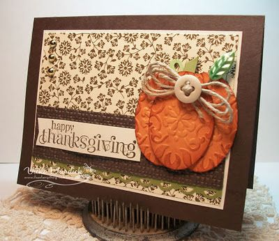 handcrafted Thanksgiving card from It's a Stamp Thing ... rich browns with a pop of orange ... luv the paper art pumpkin made from embossed and die cut ovals ... button with twine loops ... like this card!! ... Stampin' Up!