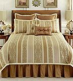 nobility autumn flowers gold bronze 8 piece queen comforter set stripe