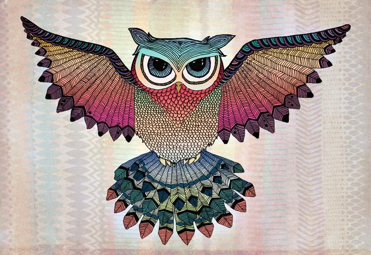 Búho colorido. Colorful owl.  Si te interesa la ilustración podes escribirme a sol.dlvega@gmail.com. If you like the illustration, please send me an email sol.dlvega@gmail.com