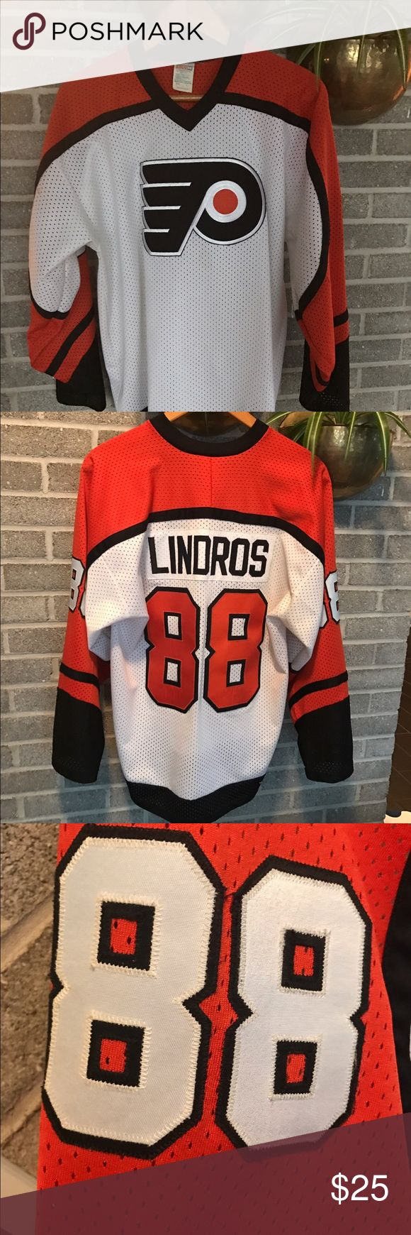 Eric Lindros #88 Philadelphia Flyers jersey Eric Lindros #88 Philadelphia Flyers jersey. In good used condition, please see photos and ask questions. Size large. Logo delaminating, some browning along edges of numbers. One stain as pictured. Shirts