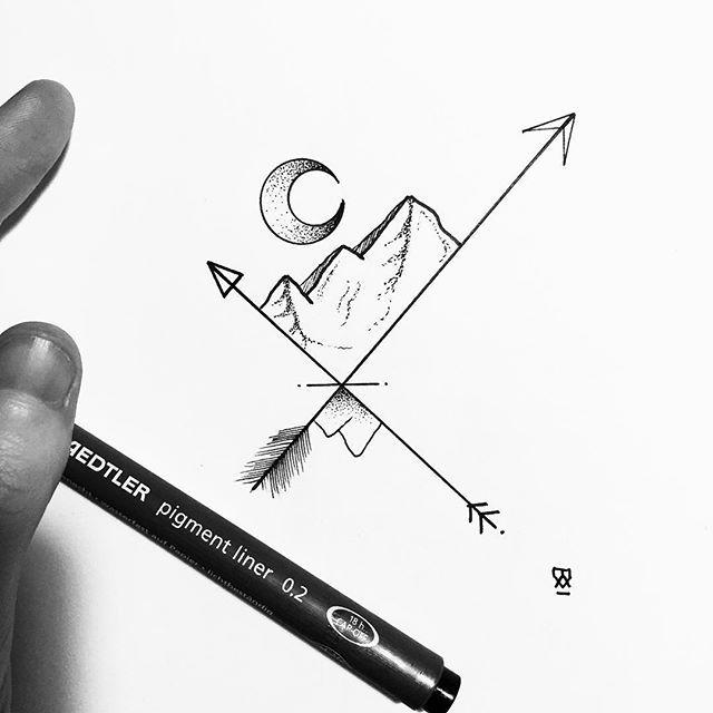 Evening doodle to clear the head and heart. #illustration #illustrator #design #sketch #drawing #draw #ink #pen #tattoo #tattoodesign #linework #dotwork #blackwork #blackworkers #arrow #moon #landscape #mountains #art #artwork #artist #artistic #instaart #minimal #doodle #instafollow #evasvartur #blackandwhite #wanderlust