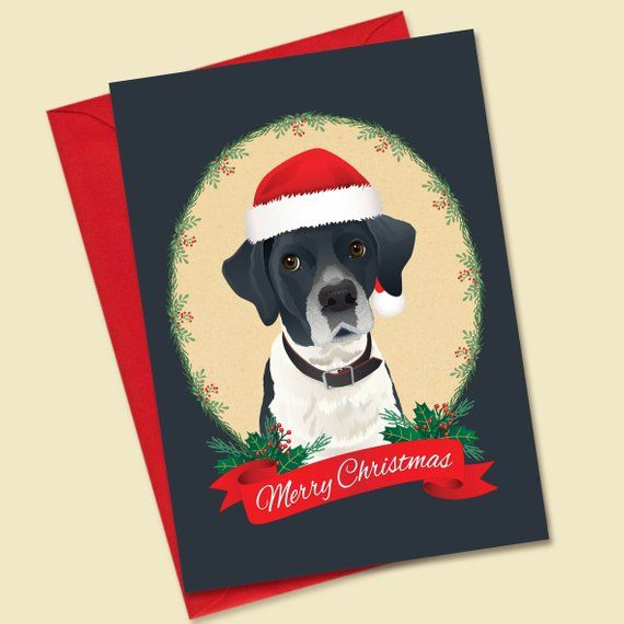 Custom Pet Portrait Christmas Card