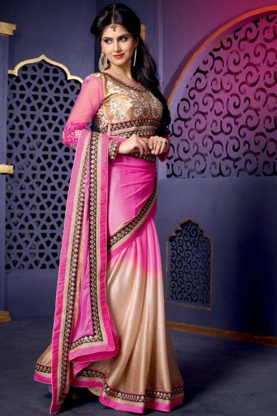 Rose Pink and Cream Yellow Satin Silk Embroidered Festival Saree Sku Code:51-5180SA274816 US $ 82.00 http://www.sareez.com/product_info.php?products_id=164188