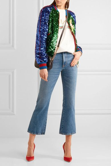 Gucci - Appliquéd Sequined Tulle And Satin Bomber Jacket - Green - IT40