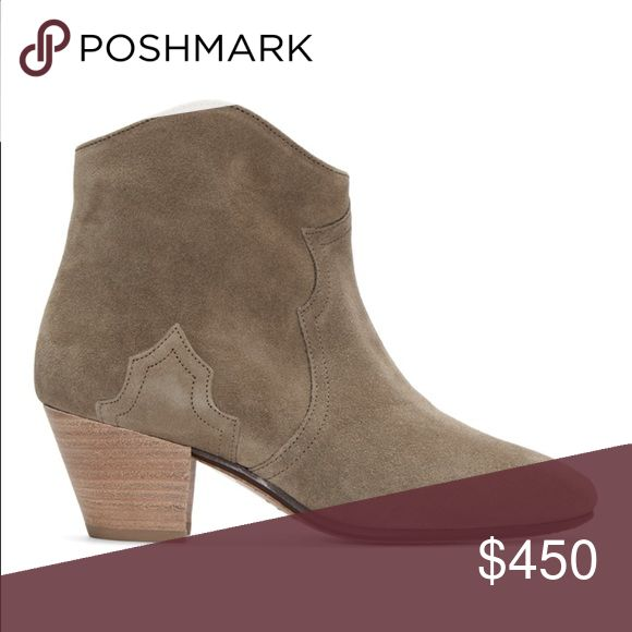 "Isabel Marant Taupe Suede Dicker Ankle Boots Great condition. Size 41. Ankle-high suede boots in taupe. Round toe. Western-style panelling at vamp and outer side. Concealed zip closure at inner side. Stacked cuban heel in brown. Leather sole in beige. Tonal stitching. Approx. 2"" heel. Length: 10.5"" width: 3 1/2"". These have been resoled in the spring time, and gentle wear on the bottom. Isabel Marant Shoes Ankle Boots & Booties"