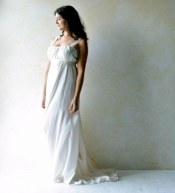 Grecian Wedding dress train wedding dress Empire by LoreTree