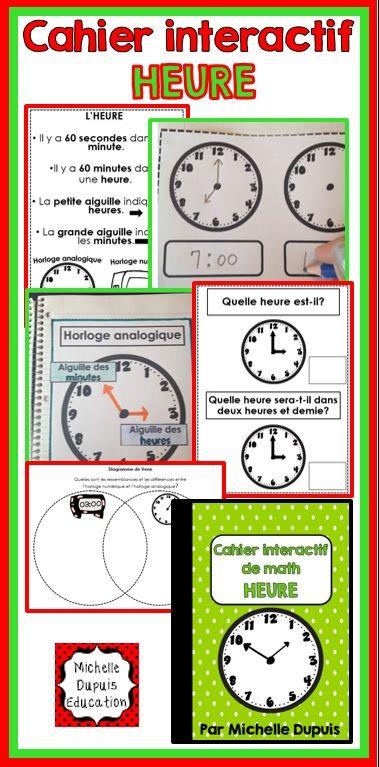 Cahier interactif sur l'heure: Voici une ressource qui offre une multitude d'activités à exploiter avec les élèves.