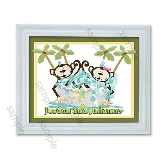 Monkey Bathroom Art Kids Monkey Bathroom Art by AllPetsCherished