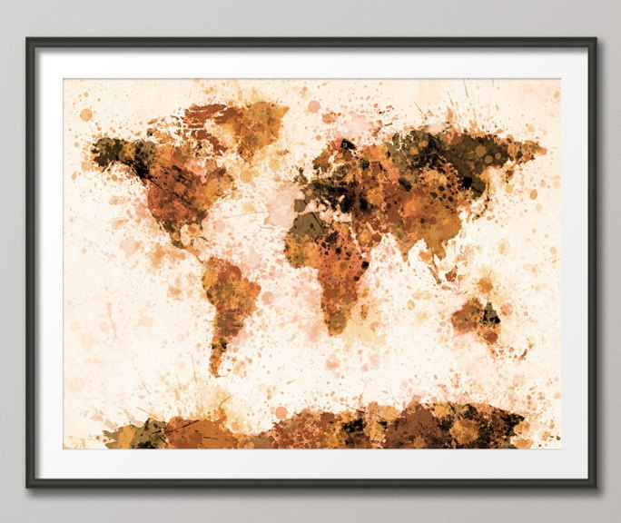 Paint Splashes Map of the World Art Print
