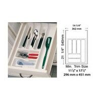 Rev-A-Shelf CT-2W-20, 14-1/4 Polymer Cutlery Tray Drawer Insert, White, Min Trim Size: 11-5/8 W x 17-3/4 D