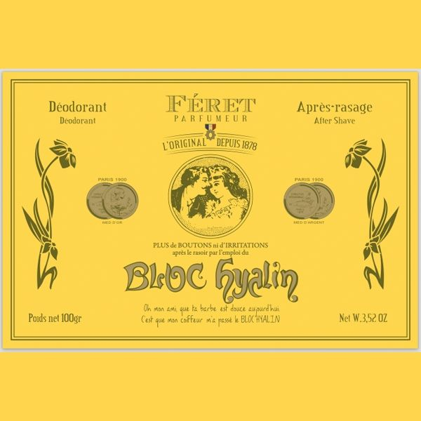 Féret Parfumeur - Bloc Hyalin 100% Pierre d'Alun naturelle Déodorant naturellement efficace, le BLOC HYALIN assainit aussi la peau après l'épilation et le rasage. Les multiples bénéfices du BLOC HYALIN: adoucissant, hydratant, astringent, cautérisant, anti-bactérien, non allergisant et anti-transpirant. Bloc Hyalin 100g. 12€ #blochyalin #feret #parfumeur #original #authentique #pierredalun #cosmetiques #beaute #deodorant #rasage #epilation #naturel #retro #vintage  www.officina-paris.fr