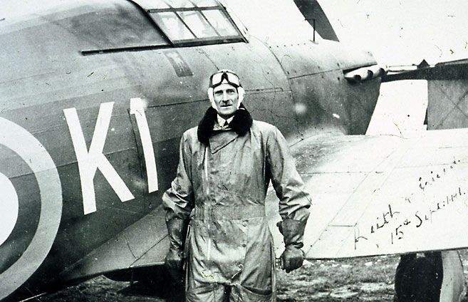 """Air Vice-Marshal Keith Park - 7th September. Flying in his famous Hurricane O-K1 over burning London noted """"It was burning all down the river, it was a horrid sight. But I looked down and said 'Thank god for that,' because I knew the Nazis had switched their attacks from our fighter stations thinking they were knocked out. They weren't, but they were pretty groggy!"""""""