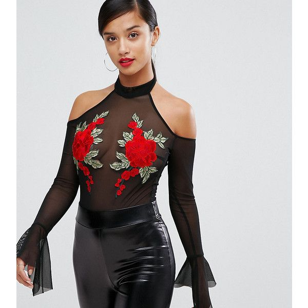 NaaNaa Petite Mesh Off Shoulder Body With Floral Applique (350 BOB) ❤ liked on Polyvore featuring dresses, black, bodycon midi dress, floral midi dress, off shoulder midi dress, petite cocktail dress and off-shoulder dresses