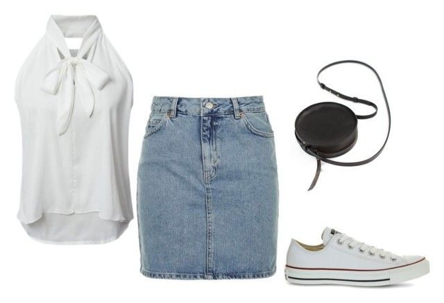 clasico by luziagalvang on Polyvore featuring moda, WithChic, Topshop, Converse and Sara Barner