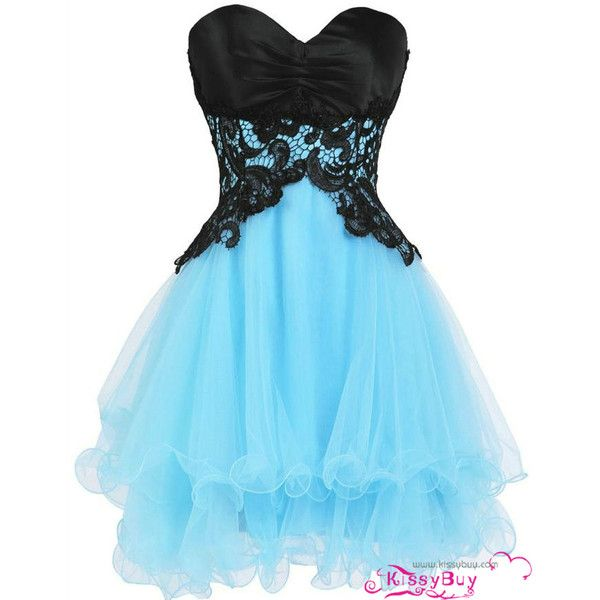 2015 Cheap Sweetheart Black and Blue Short Prom Dresses Homecoming... (€195) ❤ liked on Polyvore featuring dresses, gowns, black lace evening gown, prom dresses, blue black dress, blue prom dresses and black lace dress