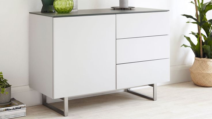 Eve Compact Frosted Grey Glass and Matt Grey Sideboard  £349.00