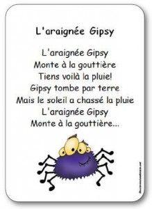 Comptine pour enfants maternelle, cycle 2, sur le thème d'Halloween et des araignées. Comptine L'araignée Gipsy
