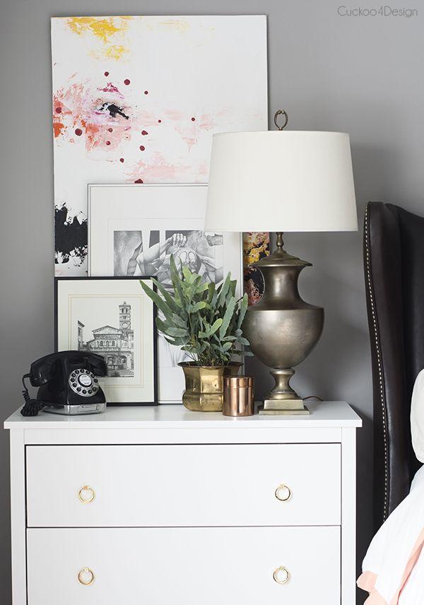 Layering Different Styles of Artwork - nightstand vignette - Cuckoo4Design